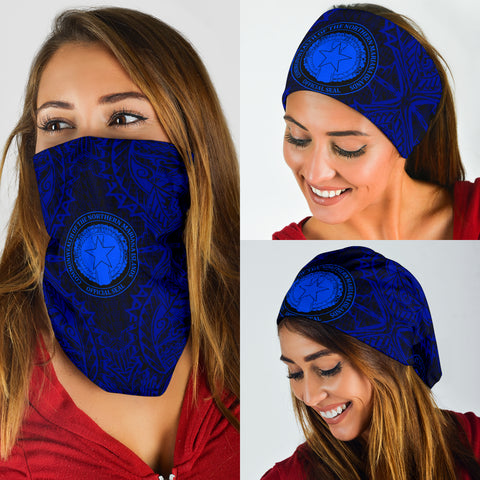 Northern Mariana Islands Polynesian Bandana 3-Pack - Coat Of Arm Blue - BN39