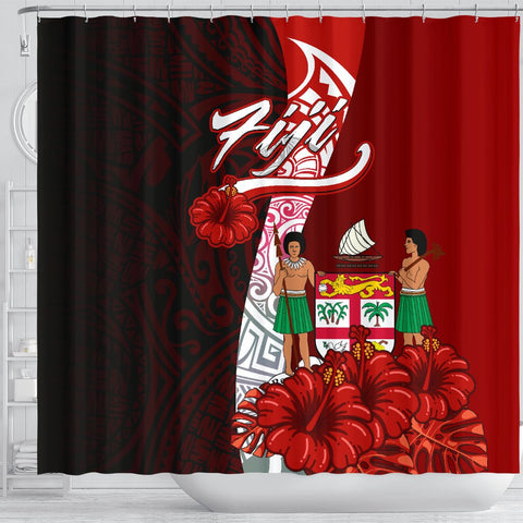Image of Fiji Polynesian Shower Curtain - Coat Of Arm With Hibiscus - BN12