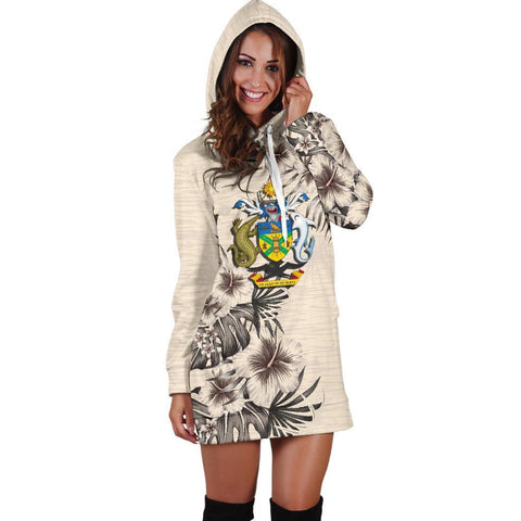 Solomon Islands Hoodie Dress - The Beige Hibiscus A7