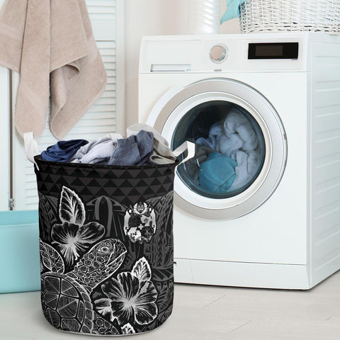 Image of Tonga Laundry Basket  -  Polynesian Turtle Hibiscus Black  - BN39