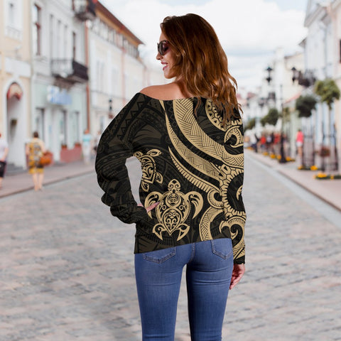 Tahiti Polynesian Women Of Shoulder Sweater - Gold Tentacle Turtle - BN11