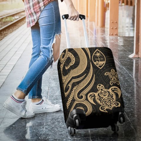 Guam Polynesian Luggage Covers - Gold Tentacle Turtle - BN11