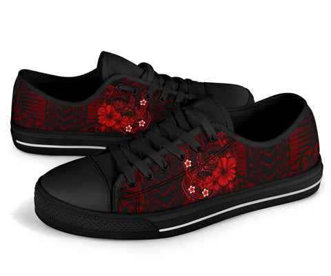Polynesian Hawaii Low Top Shoe - Humpback Whale with Hibiscus (Red)