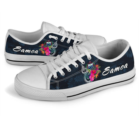 Samoa Polynesian Low Top Shoes - Tropical Flowers - BN12