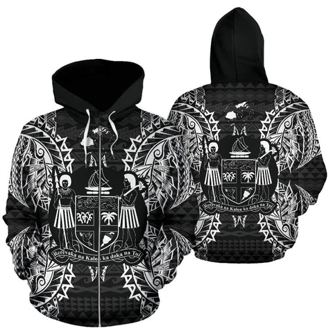 Image of Fiji Polynesian All Over Zip Up Hoodie Map Black - BN39