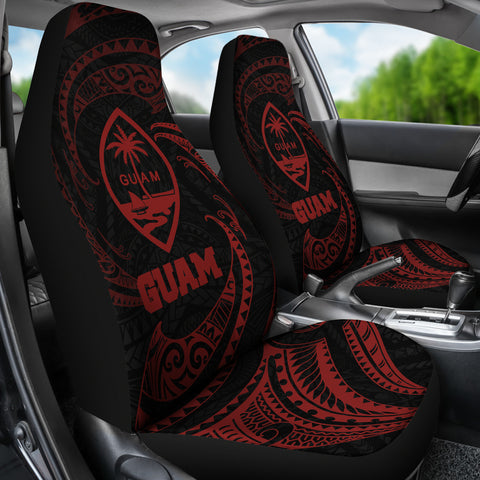 Image of Guam Polynesian Car Seat Covers - Red Tribal Wave - BN12