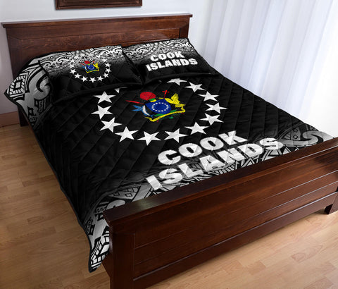 Cook Islands Polynesian Quilt Bed Set - Fog Black Style - BN12