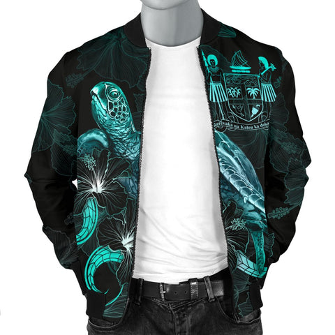 Image of Fiji Polynesian Men's Bomber Jacket - Turtle With Blooming Hibiscus Turquoise