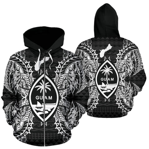 Guam Polynesian All Over Zip Up Hoodie Map Black - BN39