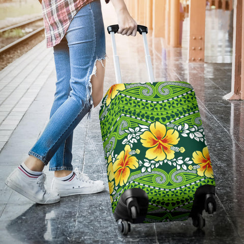 Polynesian Luggage Cover - Polynesian Hibiscus Patterns