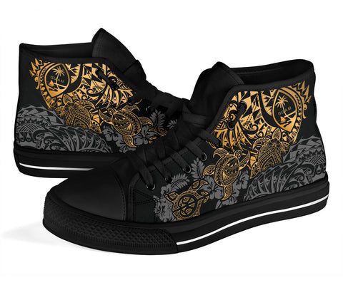 Image of Guam Polynesian High Top Shoes - Gold Turtle Flowing