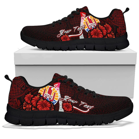 Image of Tahiti Polynesian Custom Personalised Sneakers - Coat Of Arm With Hibiscus - BN12