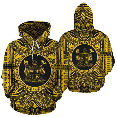 Fiji All Over Hoodie - Fiji Coat Of Arms Polynesian Gold Black