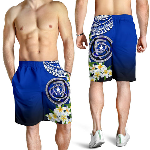 Northern Mariana Islands All Over Print Men's Shorts - Polynesian Plumeria Pattern