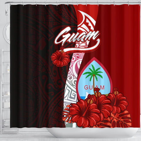 Guam Polynesian Shower Curtain - Coat Of Arm With Hibiscus - BN12
