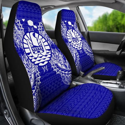 French Polynesia Car Seat Cover - French Polynesia Coat Of Arms Map Blue - BN39