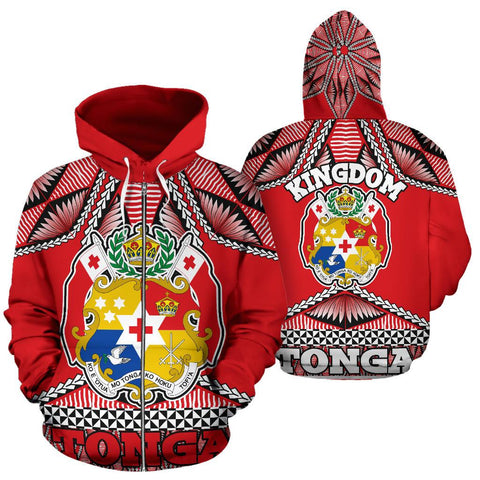 Tonga Polynesian All Over Zip Up Hoodie