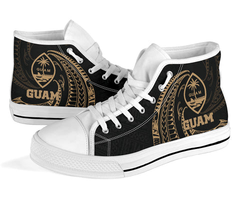 Image of Guam Polynesian High Top Shoe - Gold Tribal Wave - BN12