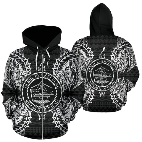 Palau Polynesian All Over Zip Up Hoodie Map Black - BN39