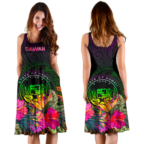 Polynesian Hawaii Midi Dress - Summer Hibiscus
