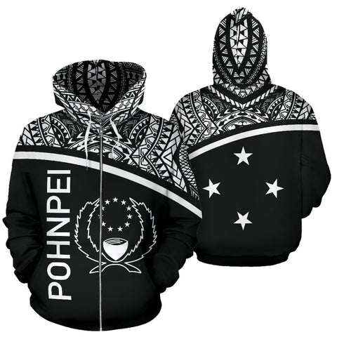Pohnpei All Over Print Zip-Up Hoodie | Polynesian Micronesia Black Curve Hoodie Style
