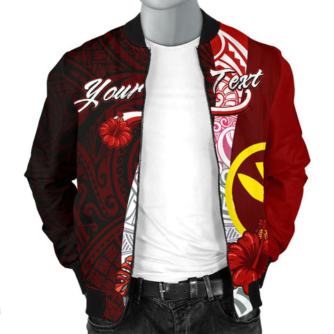Hawaii Polynesian Custom Personalised Men's Bomber Jacket - Coat Of Arm With Hibiscus - BN12