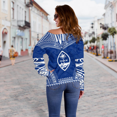 Image of Guam Polynesian Chief Custom Personalised Women's Off Shoulder Sweater - Flag Version - Bn10
