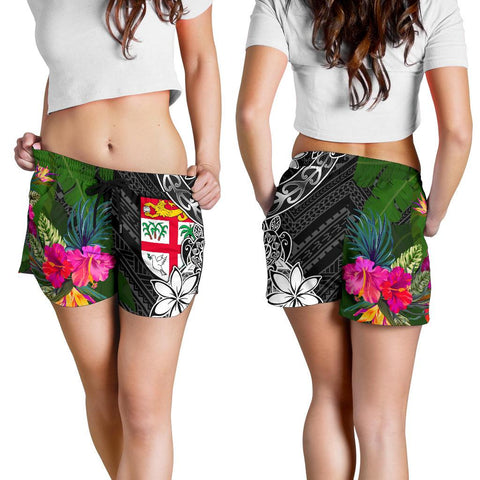 Image of Fiji Women Shorts - Turtle Plumeria Banana Leaf - BN11