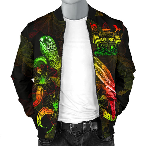 Image of Fiji Polynesian Men's Bomber Jacket - Turtle With Blooming Hibiscus Reggae
