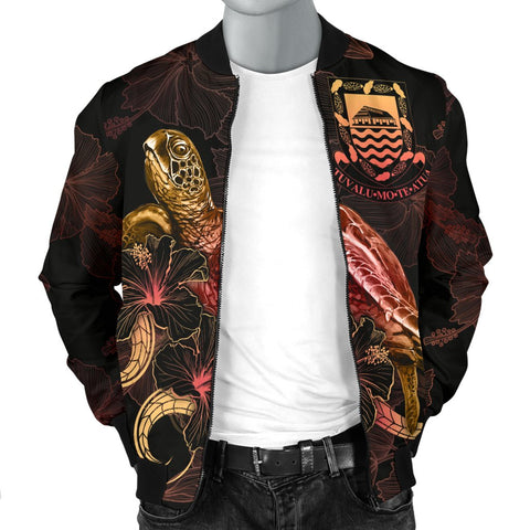 Tuvalu Polynesian Men's Bomber Jacket - Turtle With Blooming Hibiscus Gold