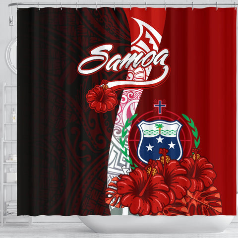 Samoa Polynesian Shower Curtain - Coat Of Arm With Hibiscus - BN12