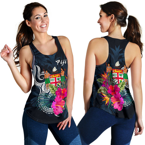 Image of Fiji Polynesian Women's Racerback Tank - Tropical Flower