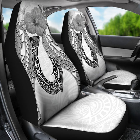 Polynesian Hook Car Seat Cover - Hibiscus White - BN39