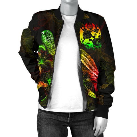 Tonga Polynesian Women's Bomber Jacket - Turtle With Blooming Hibiscus Reggae