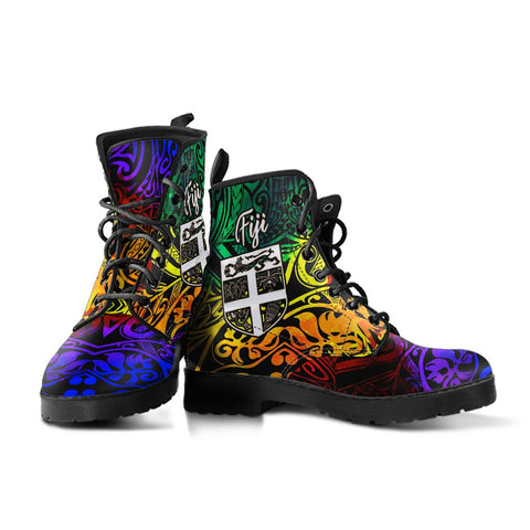 Fiji Leather Boots - Rainbow Polynesian Pattern - BN11