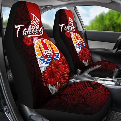 Image of Tahiti Polynesian Car Seat Covers - Coat Of Arm With Hibiscus - BN12