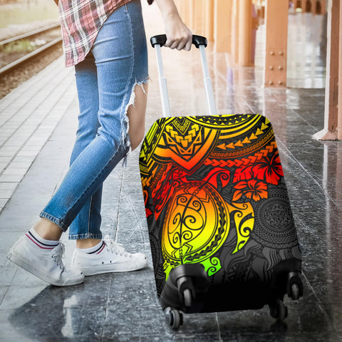 Image of Polynesian Luggage Cover - Polynesian Reggae Turtle