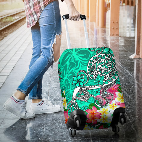 Polynesian Luggage Covers - Turtle Plumeria Turquoise Color - BN18