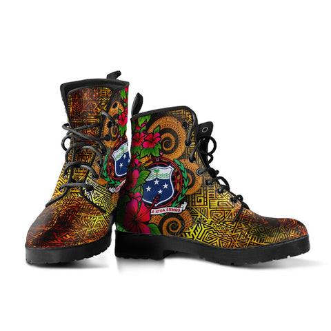 Image of Samoa Polynesian Leather Boots - Hibiscus Vintage - BN12