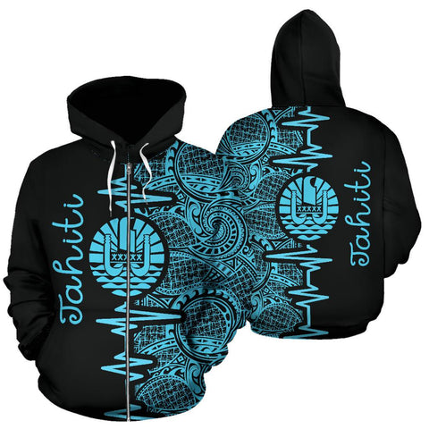 Image of Tahiti Heartbeat Hoodie - Polynesian Pattern Blue Zip-up Version TH0 1ST