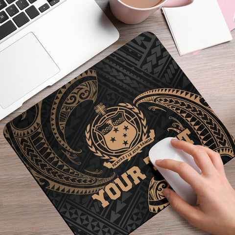 Samoa Polynesian Custom Personalised Mouse Pad - Gold Tribal Wave - BN12
