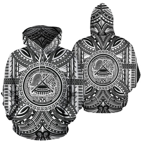 American Samoa All Over Hoodie - American Samoa Coat Of Arms Polynesian White Black