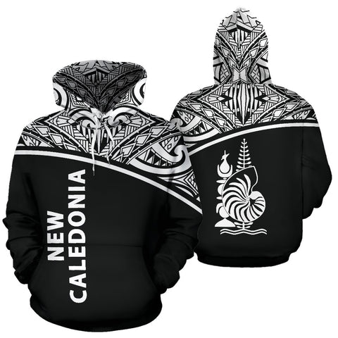 New Caledonia Polynesian All Over Hoodie - Curve Black Style