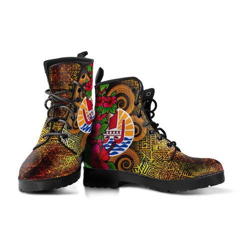 Tahiti Polynesian Leather Boots - Hibiscus Vintage - BN12