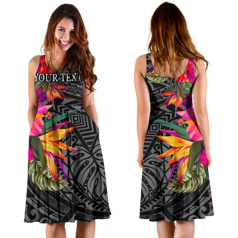 Polynesian Custom Personalised Midi Dress - Hibiscus Pattern - BN39