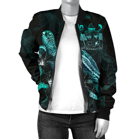 Image of Fiji Polynesian Women's Bomber Jacket - Turtle With Blooming Hibiscus Turquoise