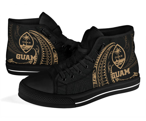 Guam Polynesian High Top Shoe - Gold Tribal Wave - BN12