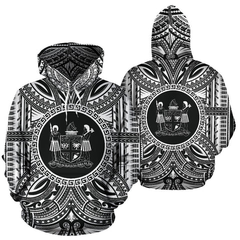 Fiji All Over Hoodie - Fiji Coat Of Arms Polynesian White Black