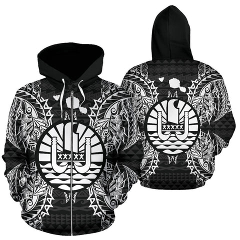 French Polynesia Polynesian All Over Zip Up Hoodie Map Black - BN39