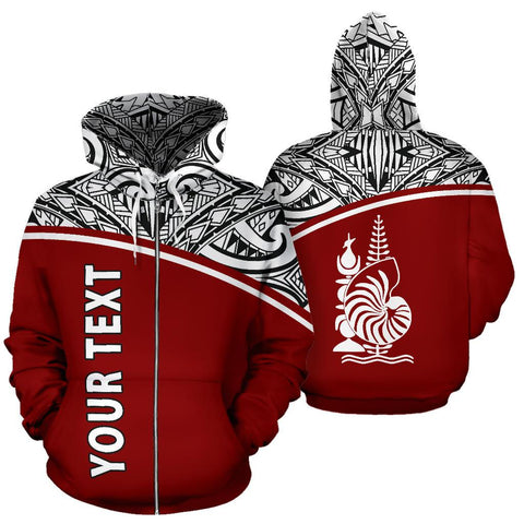 New Caledonia Polynesian All Over Zip-Up Hoodie - Red Curve Version